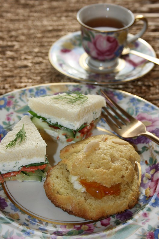 Cucumber Sandwiches with Smoked Salmon, Orange Almond Scones