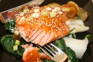 Asian Grilled Salmon with Plum Sauce, Scallions and Toasted Sesame Seeds