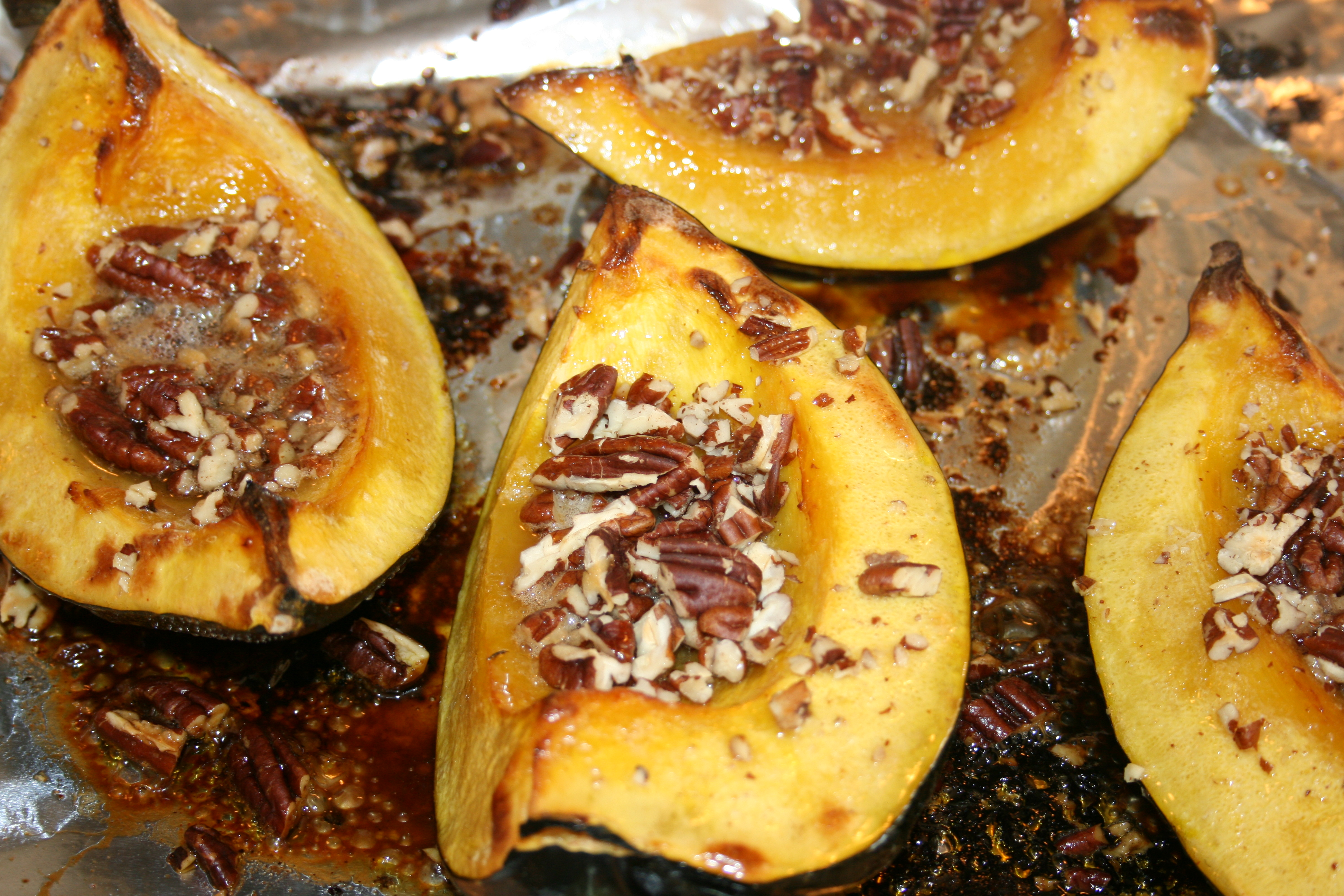 Roasted Acorn Squash with Glazed Pecans - Sydne George
