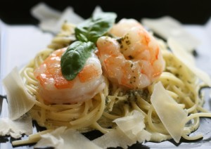 Sauteed Shrimp over Angel Hair Pasta with Pesto Cream Sauce