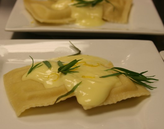Lemon-Artichoke Ravioli with Lemon Tarragon Hollandaise