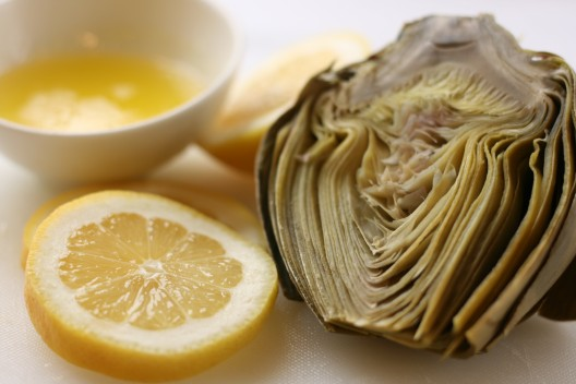 Artichoke steamed in the microwave with melted butter
