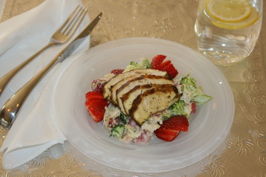 Grilled Marinated Chicken on Strawberry-Broccoli Slaw