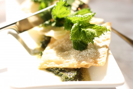 Almond-Mint Dessert Ravioli with Mint Pesto