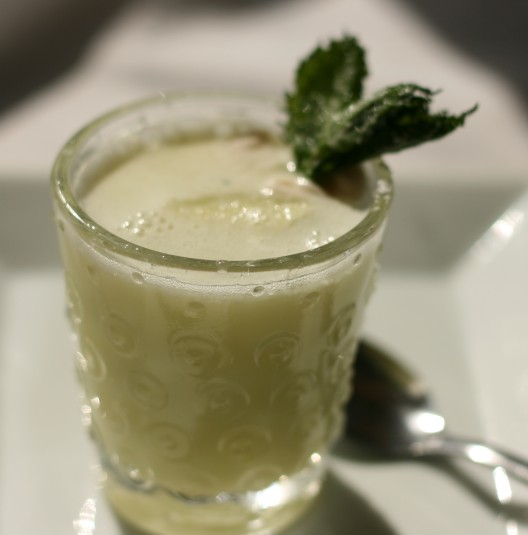 Chilled Minty Melon Soup Shots