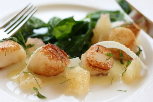 Seared Scallops with Grapefruit, Fennel and Mint