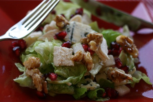 Pear and Pomegranate Salad with Herb-crusted Chicken, Blue Cheese and Candied Walnuts