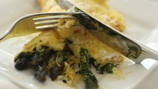 Grilled Asparagus Omelet with Parmesan and Lemon Peel