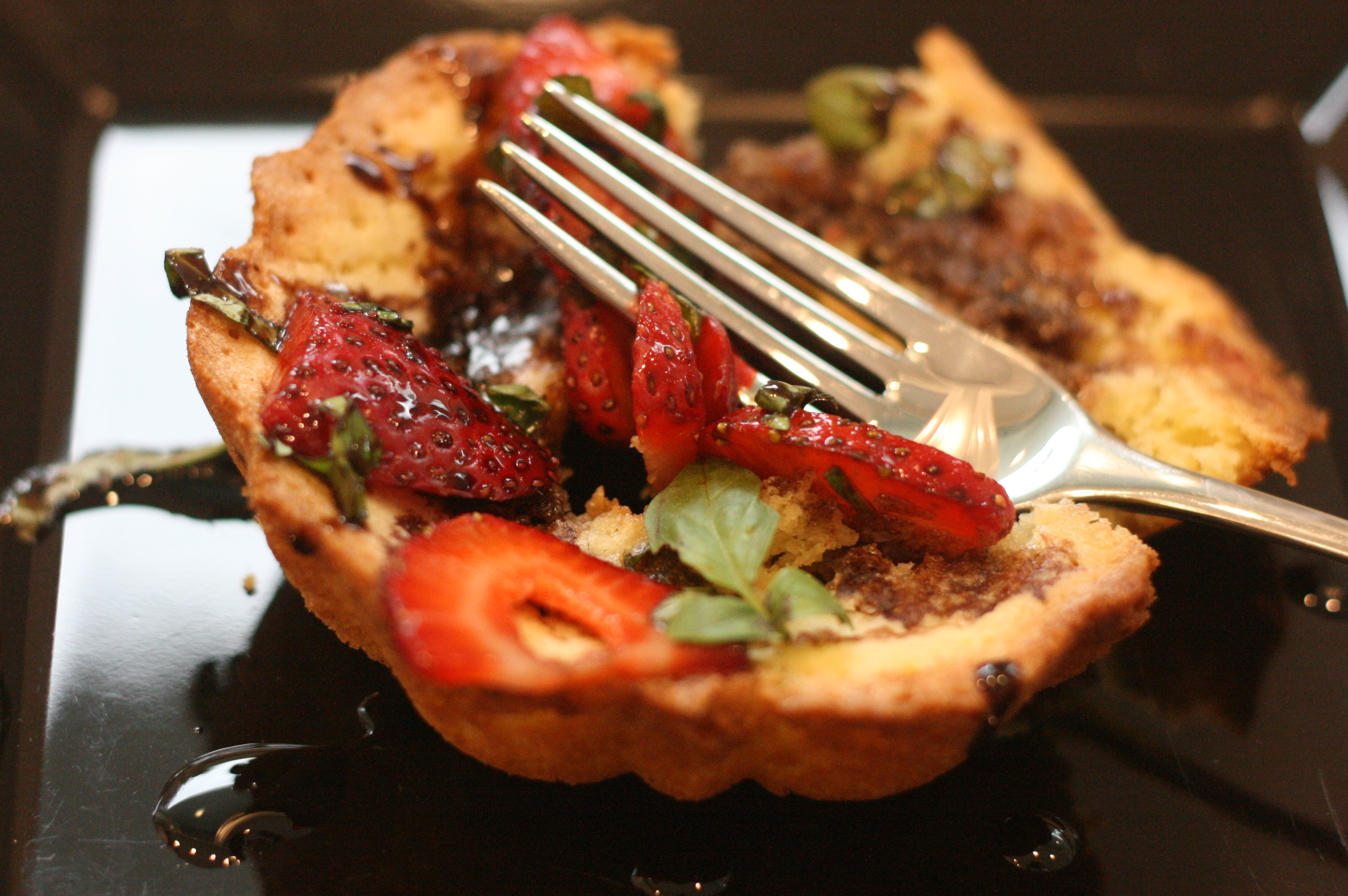 Olive Oil Mini Bundts with Basil Balsamic Strawberries