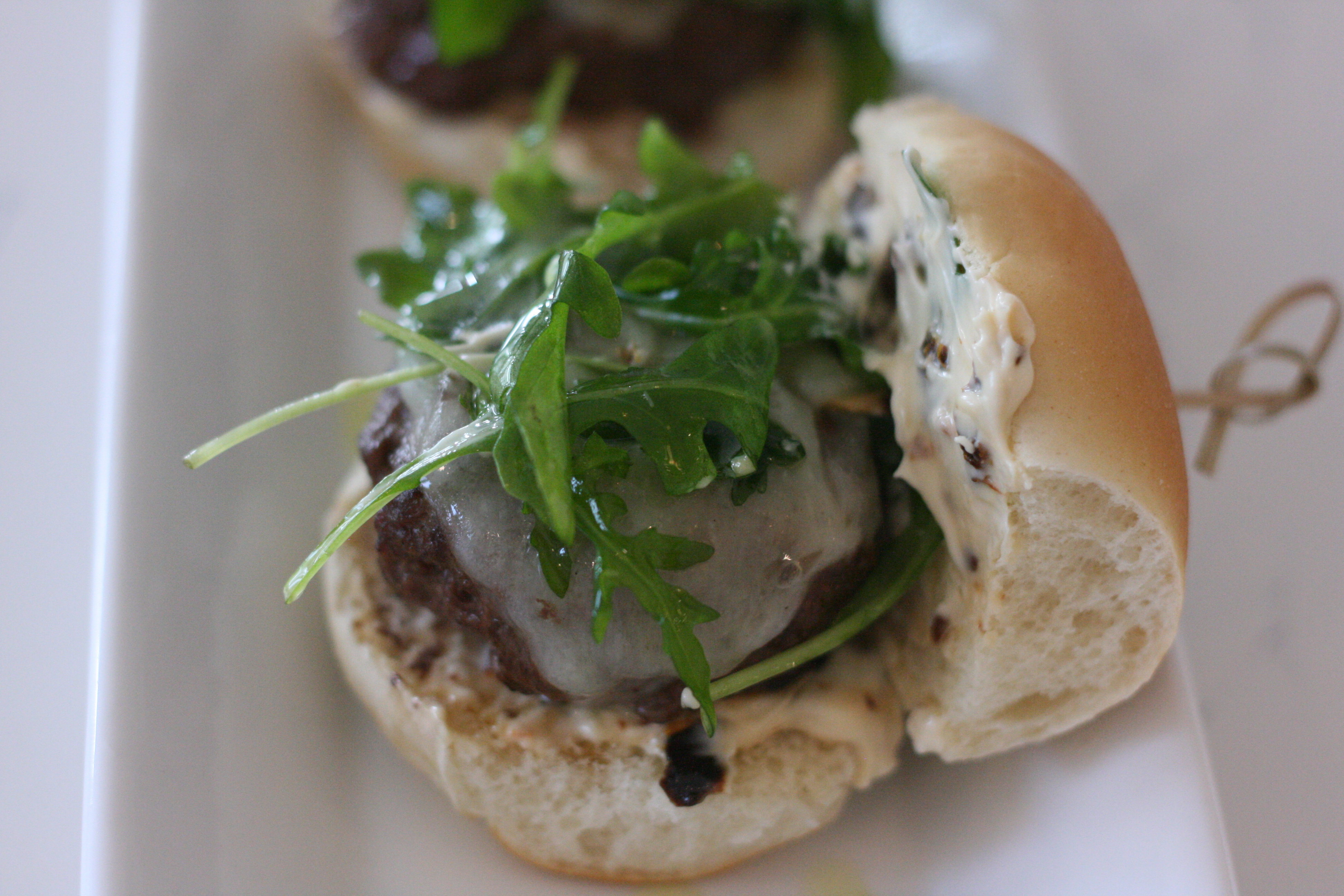 Summertime Sliders with Sundried Tomato Mayo and Lightly-dressed Arugula