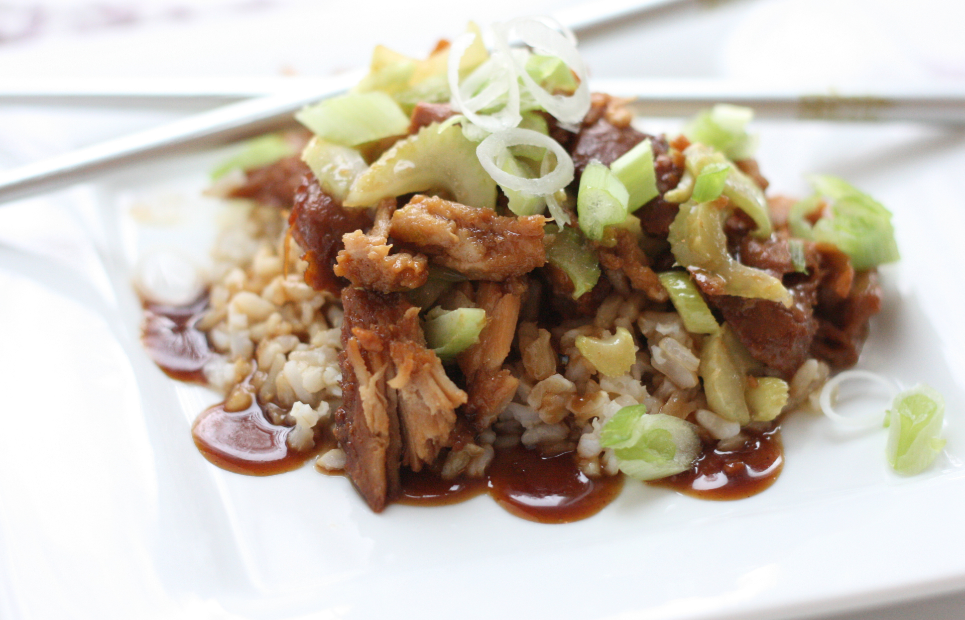 Hoisin-Glazed Pork over Buttered Brown Rice