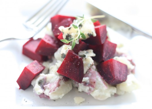 Roasted Beet Wedges over Roquefort Smashed Baby Reds