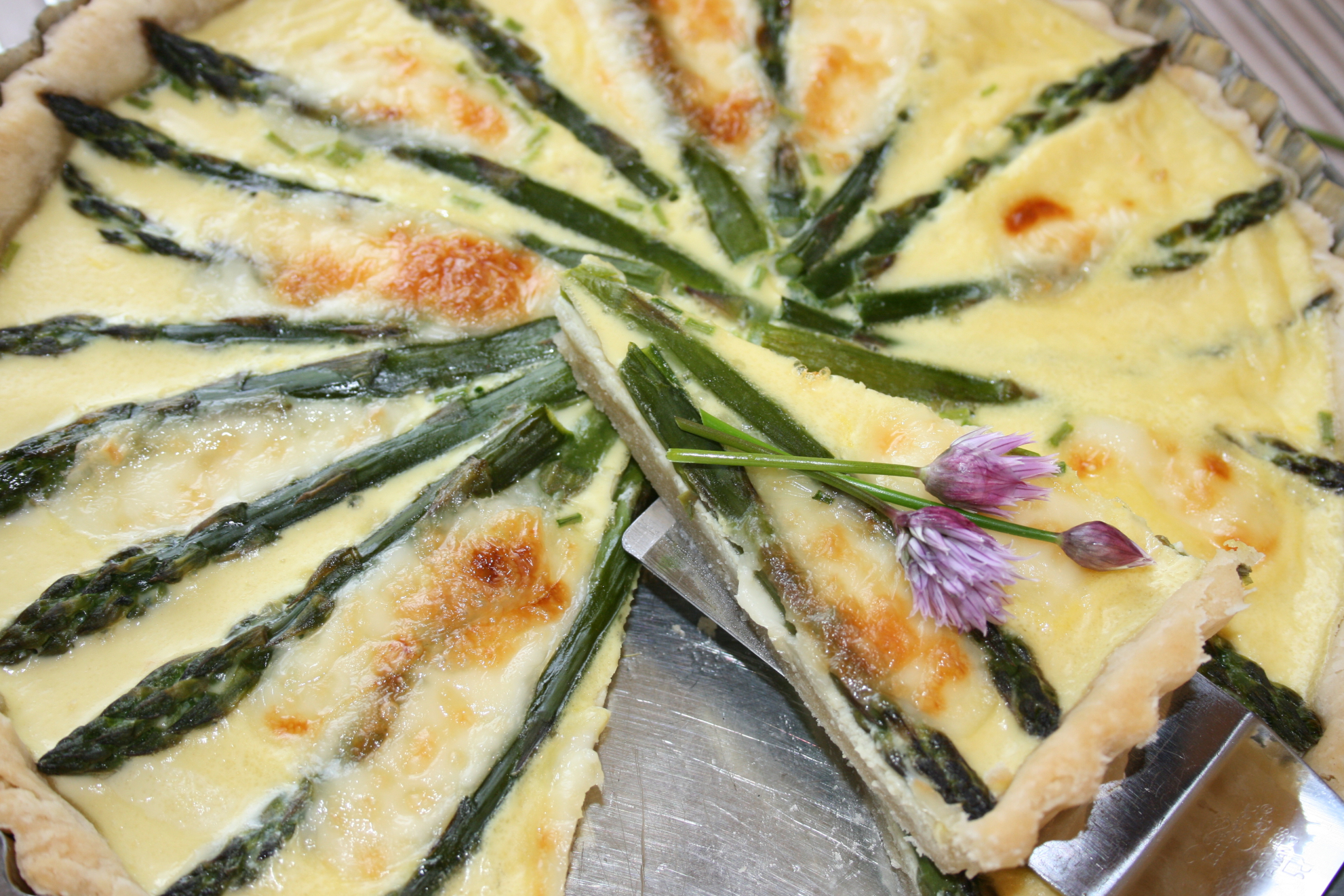 Asparagus, Brie and Chive Tart