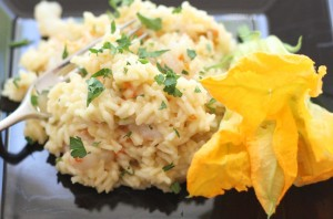 Risotto with Zucchini Flowers and Shrimp
