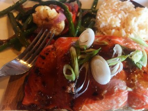 Cedar Planked Asian Glazed Alaskan Salmon