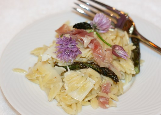 Orzo Salad with Proscuitto Ribbons, Roasted Asparagus Tips and Shaved Parmesan