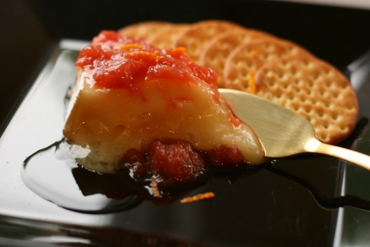 Rhubarb-Grand Marnier Compote over Warmed Brie