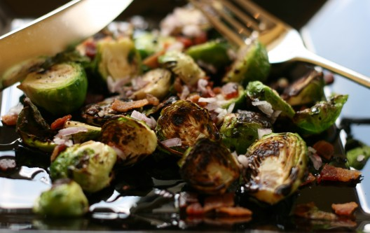 Grilled Baby Brussels Sprouts with Balsamic Drizzle, Bacon and Shallots