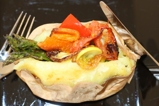 Baked Sweet Potato with Garlic Roasted Vegetables