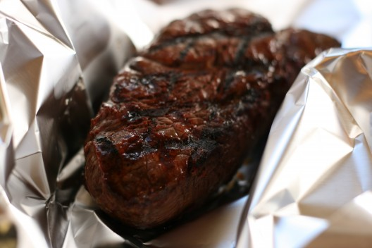 One Sensational Steak- hot off the grill!