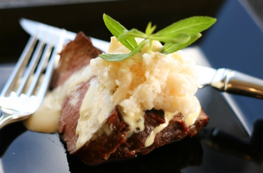 One Sensational Steak with Blender Bearnaise and Crab
