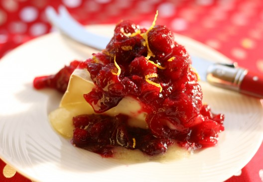 Grand Marnier-spiked Cranberry-Orange Compote over Brie