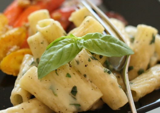 Rigatoni with Brie and Basil and Garlic-roasted Rainbow Carrots