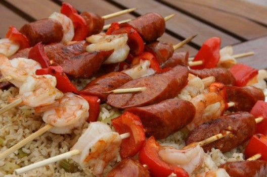 Andouille Sausage, Red Bell Pepper and Shrimp Skewers